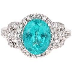 4.33 Carat Apatite Diamond Ring 18 Karat White Gold Ring