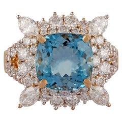 4.33 Carat Aquamarine and Diamond Ring Studded in 18 Karat Yellow Gold