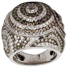 4.33 Carat Diamond 18 Karat Gold Statement Bombe Ring