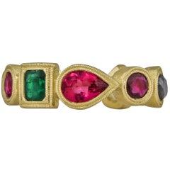 4.33 Carat Eternity Band Gold with Mixed Fancy Shaped Semi Precios Gemstones