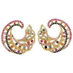 4.33 Carat Multi Sapphire Swirl 18 Karat Yellow Gold Earrings