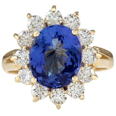 4.33 Carat Natural Tanzanite 18 Karat Yellow Gold Diamond Ring
