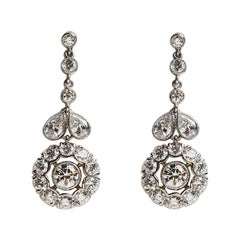 4.33 Carat Platinum Diamond Drop Earring