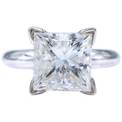 4.33 Carat Princess Cut Diamond G SI2 Solitaire Diamond Ring Certificate