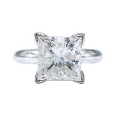 4.33 Carat Princess Cut Diamond GSI2 Solitaire Diamond Ring Certificate