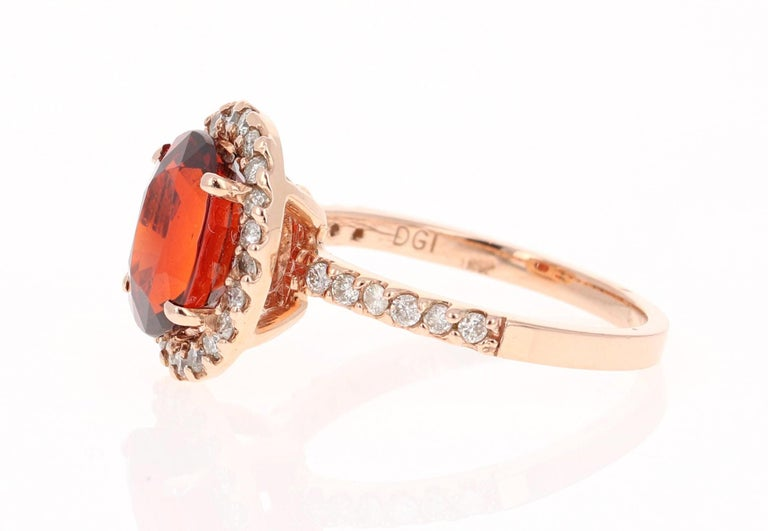 Modern 4.33 Carat Spessartine Diamond 14 Karat Rose Gold Cocktail Ring For Sale