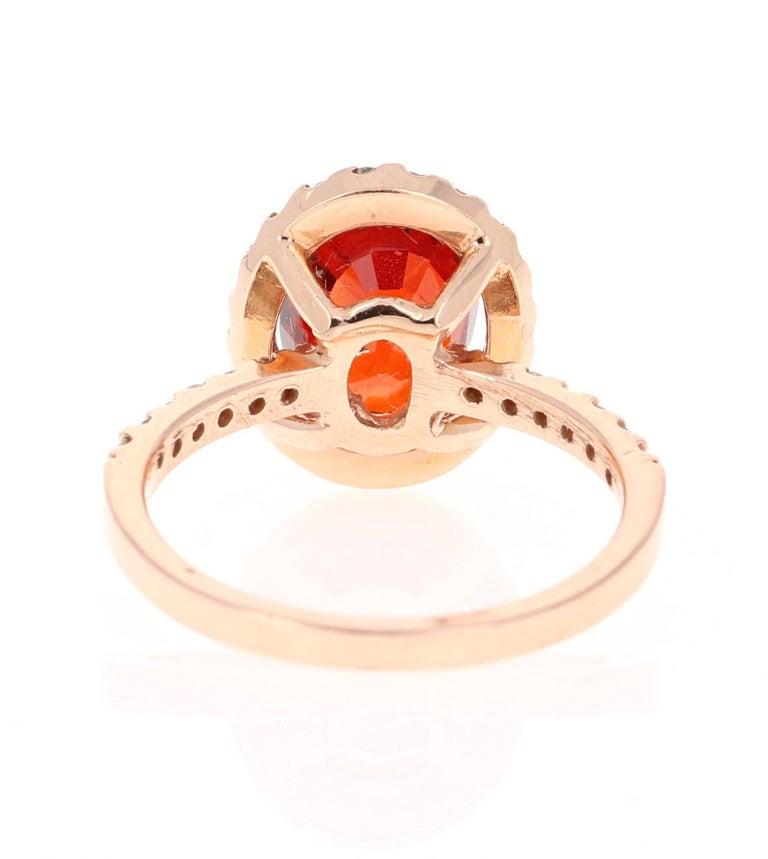Oval Cut 4.33 Carat Spessartine Diamond 14 Karat Rose Gold Cocktail Ring For Sale