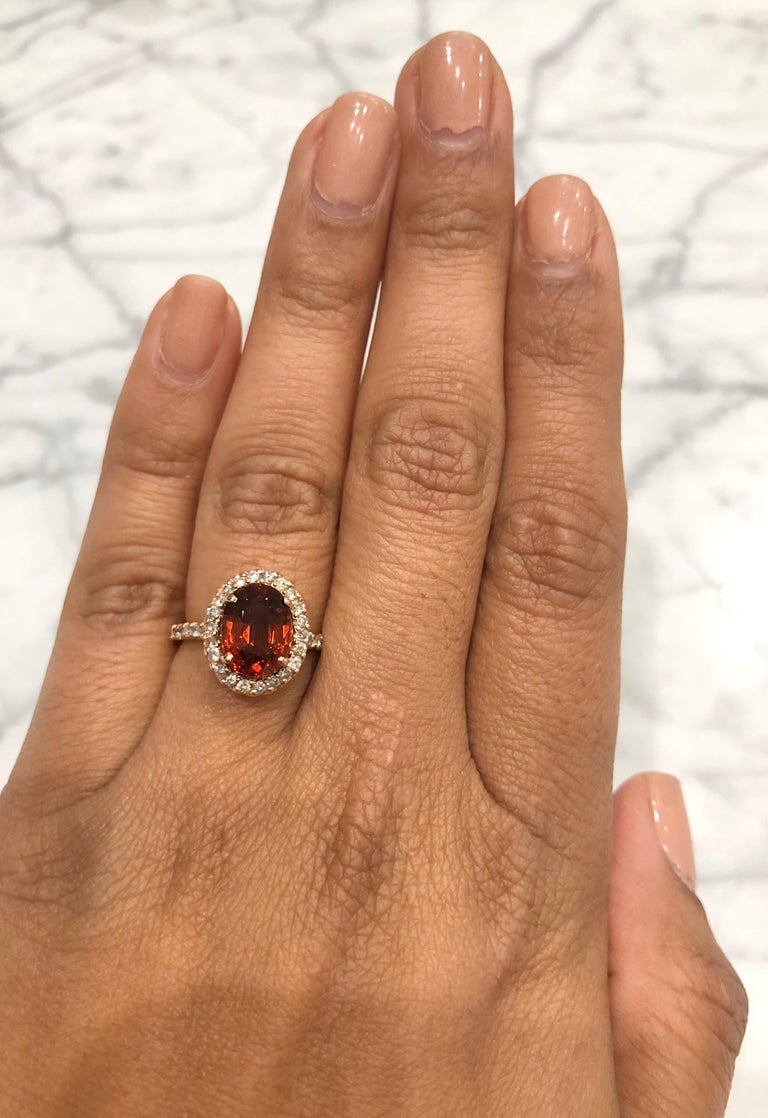 4.33 Carat Spessartine Diamond 14 Karat Rose Gold Cocktail Ring In New Condition For Sale In San Dimas, CA