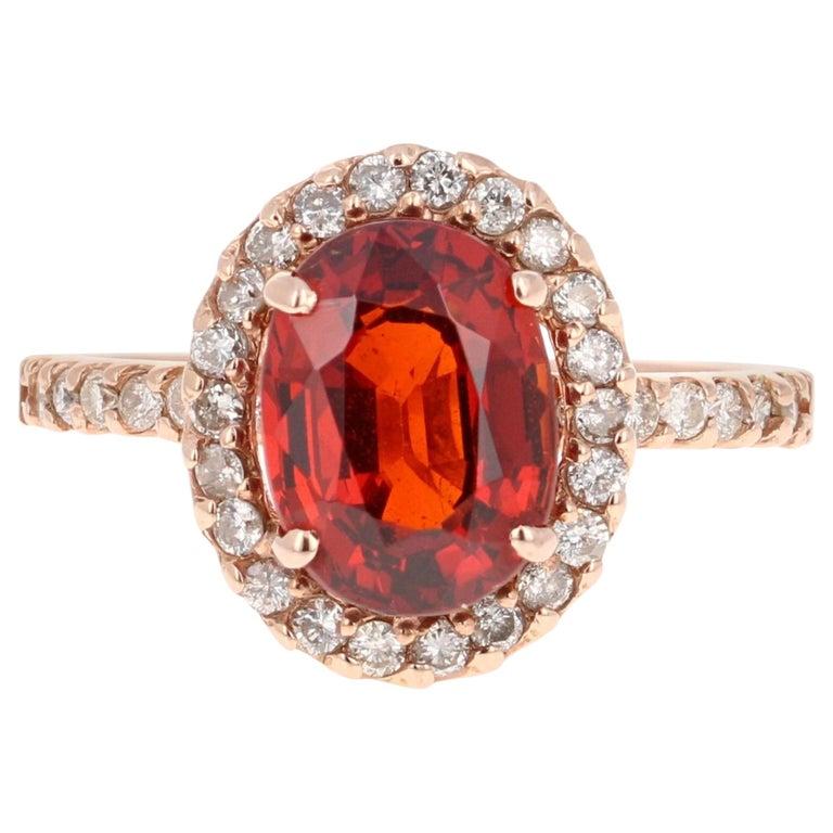 4.33 Carat Spessartine Diamond 14 Karat Rose Gold Cocktail Ring For Sale