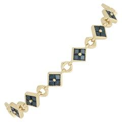 4.33 Carat Square Cut Sapphire Bracelet, 18 Karat Yellow Gold Link