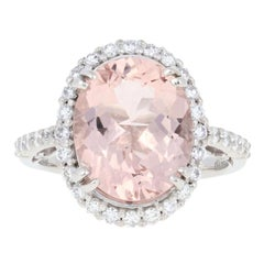 4.34 Carat Oval Cut Morganite and Diamond Ring, 950 Platinum Halo Engagement