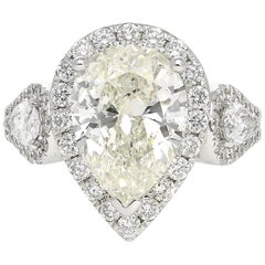 4.34 Carat Pear-Shape J Color SI2 Clarity Diamond Ring