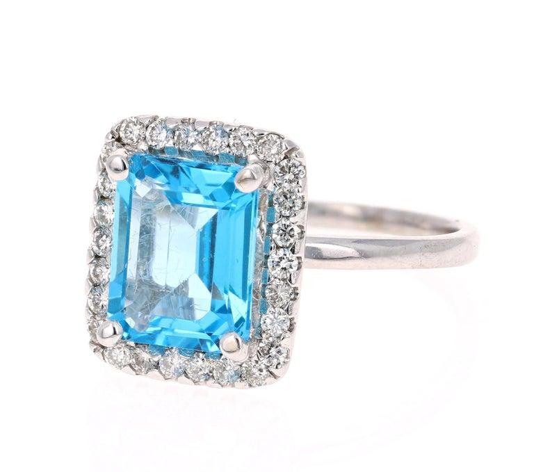 Modern 4.35 Carat Blue Topaz Diamond 14 Karat White Gold Cocktail Ring For Sale