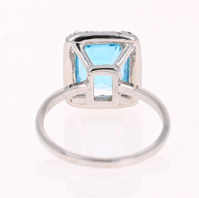 Emerald Cut 4.35 Carat Blue Topaz Diamond 14 Karat White Gold Cocktail Ring For Sale