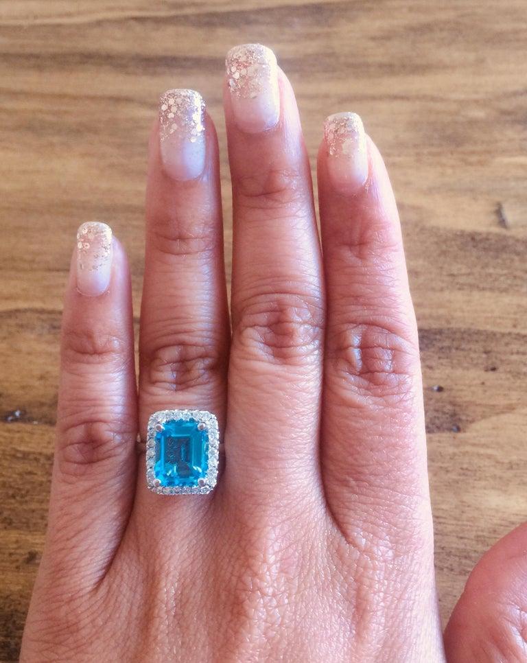 Women's 4.35 Carat Blue Topaz Diamond 14 Karat White Gold Cocktail Ring For Sale