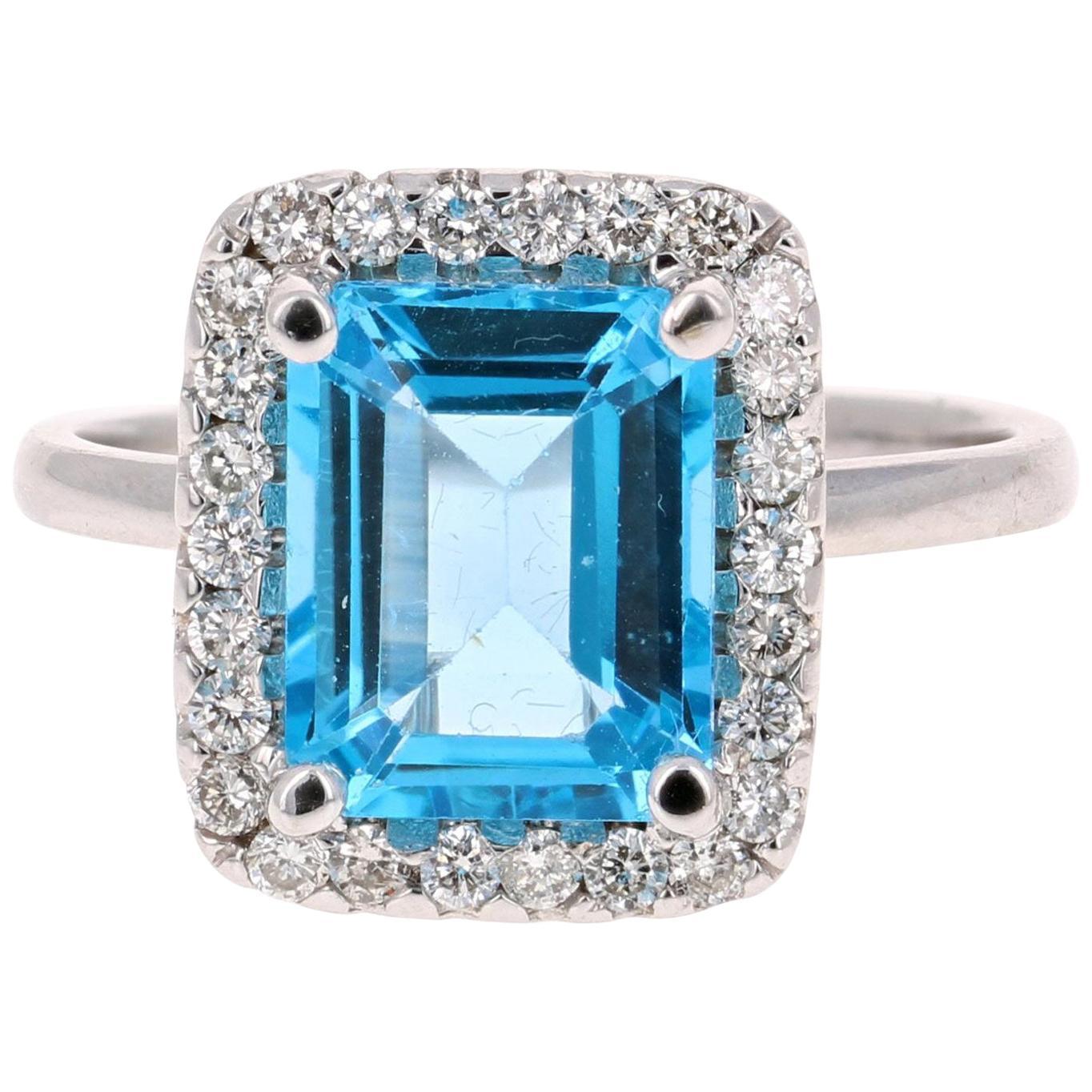 4.35 Carat Blue Topaz Diamond 14 Karat White Gold Cocktail Ring