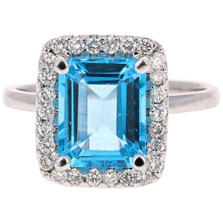 4.35 Carat Blue Topaz Diamond 14 Karat White Gold Cocktail Ring For Sale