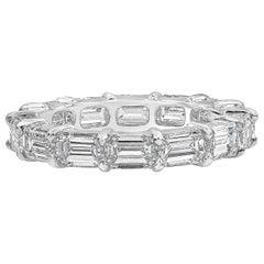 4.35 Carat Emerald Cut Diamond Horizontal Eternity Wedding Band