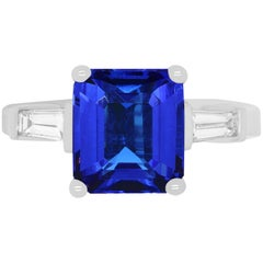 4.35 Carat Emerald Cut Tanzanite and Baguette Diamond Ring