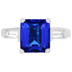 Emerald Cut Tanzanite and Baguette Diamond Engagement Ring