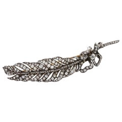 4.35 Carat Rose Cut and Old Mine Cut Diamond Feather Pin
