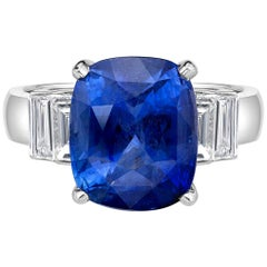 4.35 Carat Royal Blue Sapphire GRS Certified Non Heated Diamond Ring Cushion Cut