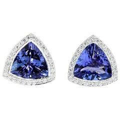 4.35 Carat Trillion Cut Tanzanite and Diamond Halo Stud Earrings