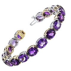 43.55 Carat Total Amethyst Oval, White and Yellow Gold Tennis Link Bracelet