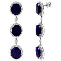 43.56 Carat Sapphire, 3.51 Carat Diamond, 18 Karat White Gold Earrings
