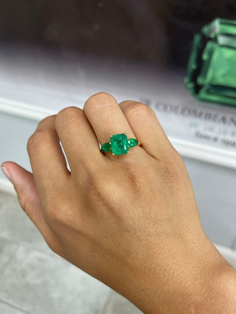 4.35tcw 18K Three Stone Colombian Emerald Cut & Pear Engagement Ring In New Condition For Sale In Jupiter, FL
