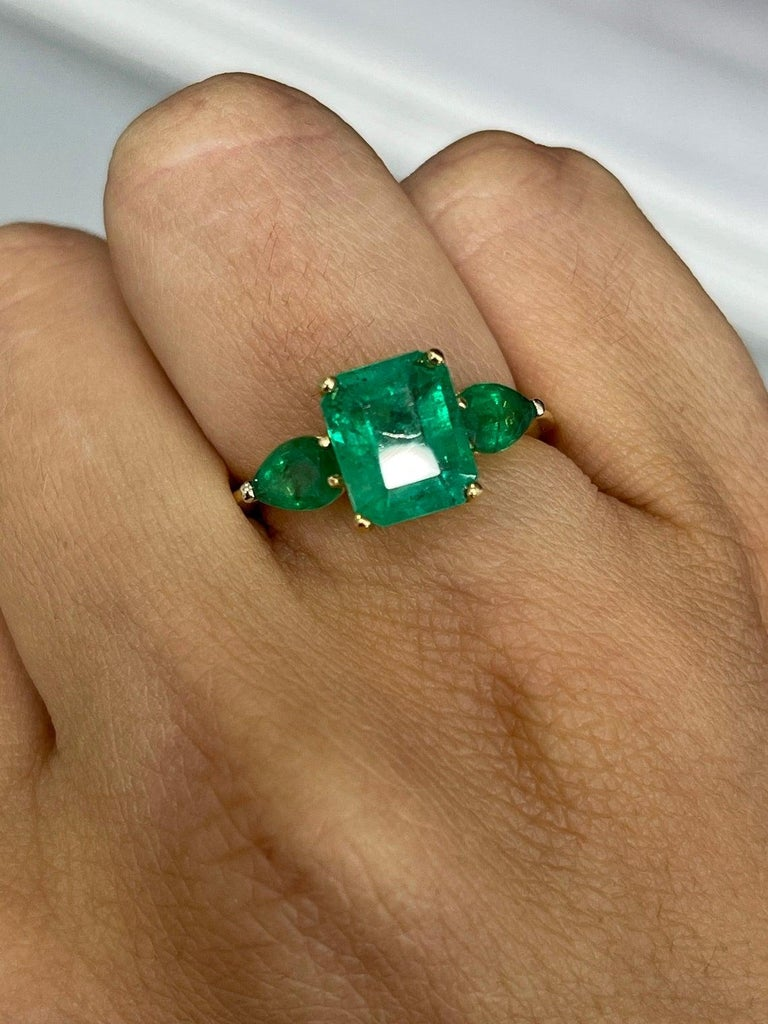 Women's 4.35tcw 18K Three Stone Colombian Emerald Cut & Pear Engagement Ring For Sale
