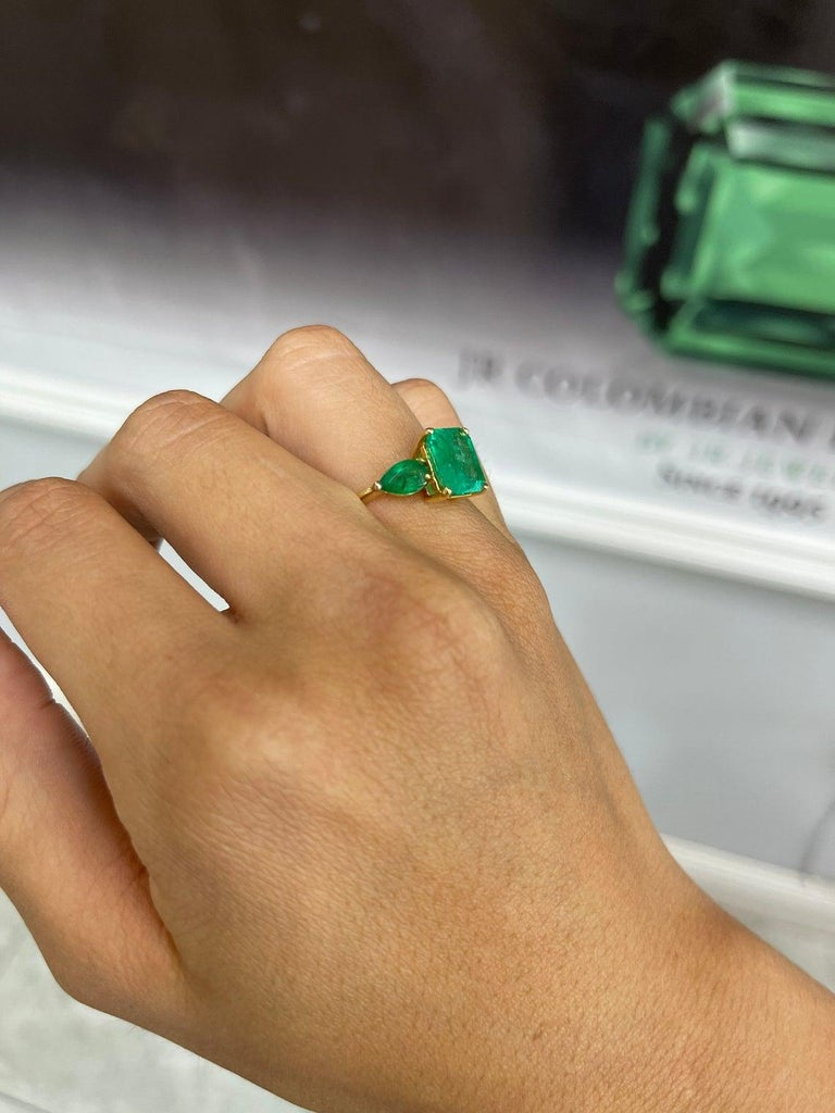 4.35tcw 18K Three Stone Colombian Emerald Cut & Pear Engagement Ring For Sale 1