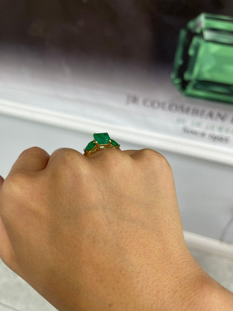 4.35tcw 18K Three Stone Colombian Emerald Cut & Pear Engagement Ring For Sale 2