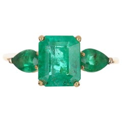 4.35tcw 18K Three Stone Colombian Emerald Cut & Pear Engagement Ring