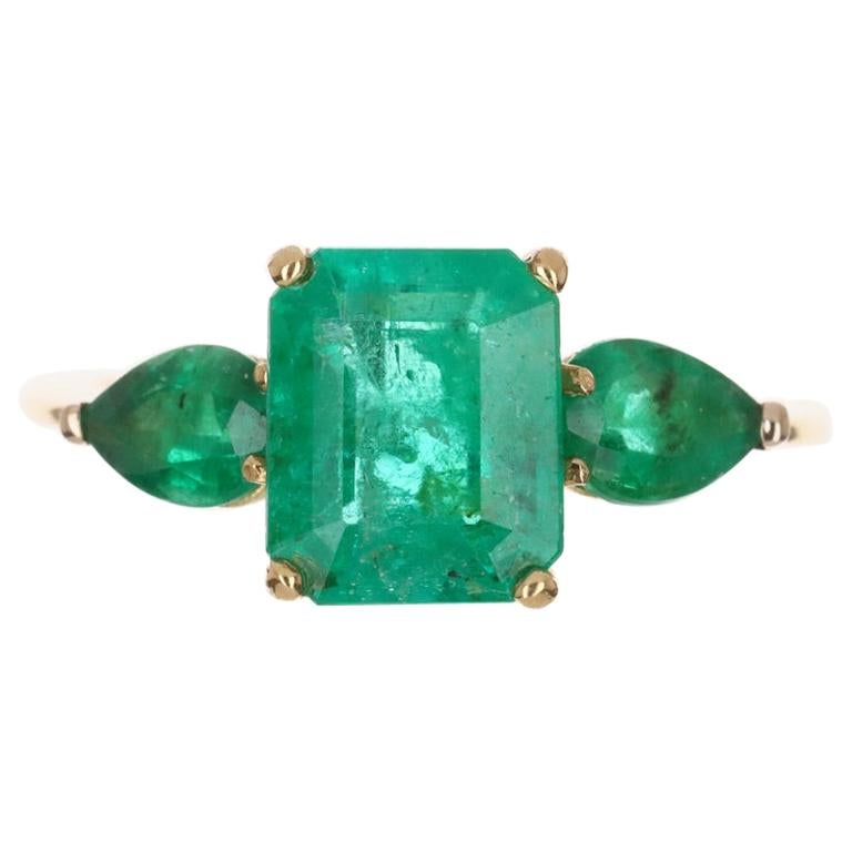 4.35tcw 18K Three Stone Colombian Emerald Cut & Pear Engagement Ring For Sale