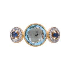 4.36 Carat Blue Topaz Blue Sapphire and Diamond 18 Karat Yellow Gold Ring
