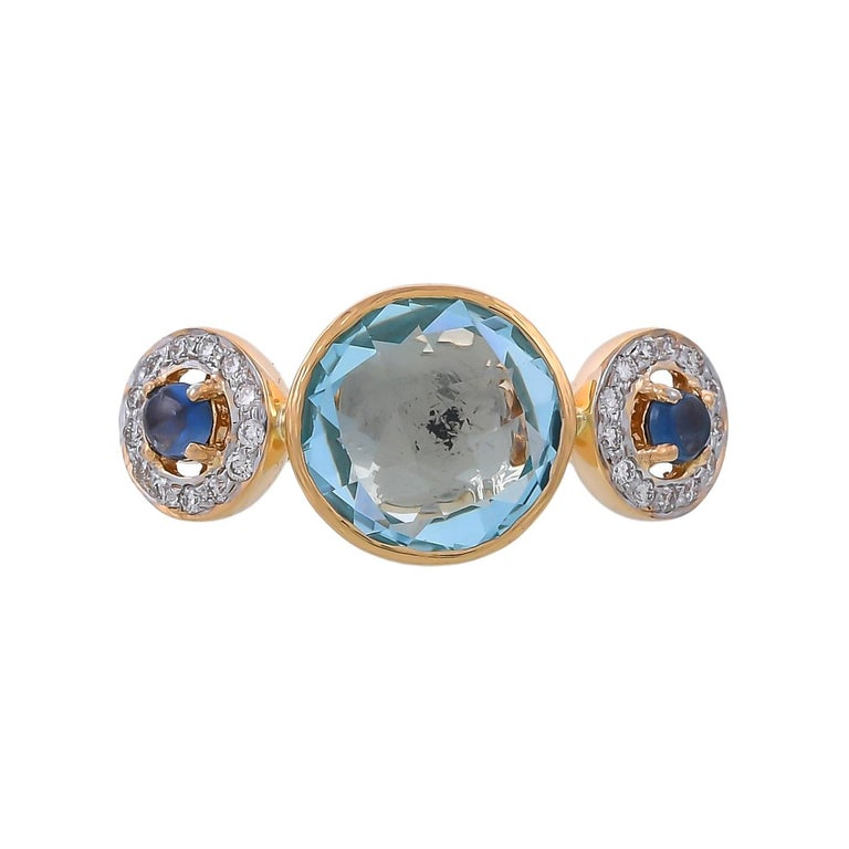 4.36 Carat Blue Topaz Blue Sapphire and Diamond 18 Karat Yellow Gold Ring For Sale