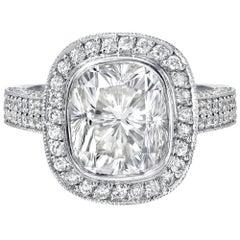 4.36 Carat Diamond Cushion Cut Ring Set in Platinum