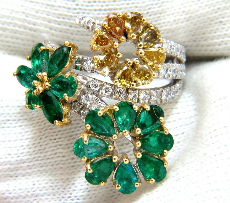 Cluster Cocktail Greens  2.60ct. Natural Emeralds cocktail Ring  Pear, Marquise & Round Cuts  Transparent / clean clarity  Vivid Greens     1.06ct. Fancy Yellow Brown Diamonds.  Pear Shaped & full cuts    Vs-2 clarity.    .70ct side round diamond