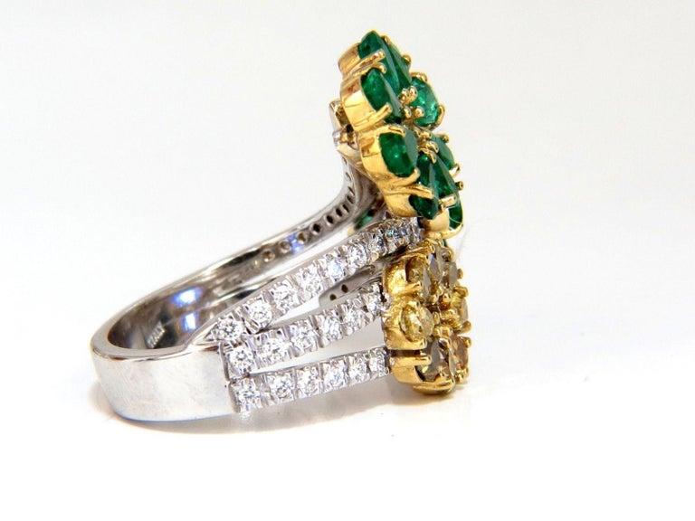 Pear Cut 4.36 Carat Natural Emeralds Diamond Cocktail Cluster Ring 18 Karat For Sale