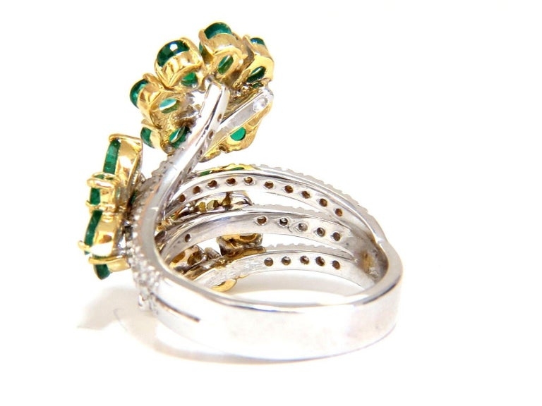 4.36 Carat Natural Emeralds Diamond Cocktail Cluster Ring 18 Karat In New Condition For Sale In New York, NY