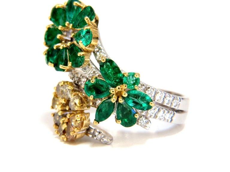 4.36 Carat Natural Emeralds Diamond Cocktail Cluster Ring 18 Karat For Sale 1