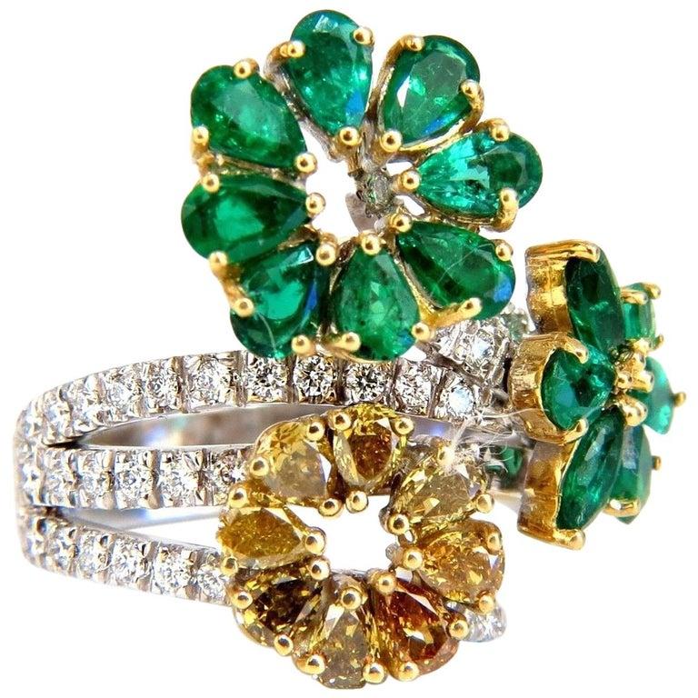 4.36 Carat Natural Emeralds Diamond Cocktail Cluster Ring 18 Karat For Sale