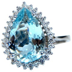 4.36 Carat Natural Pear Aqua Blue Aquamarine Diamonds Ring 14 Karat