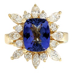 4.36 Carat Natural Tanzanite 18 Karat Yellow Gold Diamond Ring