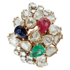 4.36 ct Emerald Blue Sapphire Ruby Drops, Diamonds, White/Rose Gold Fashion Ring