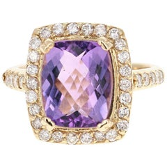 4.37 Carat Amethyst Diamond 14 Karat Yellow Gold Bridal Ring