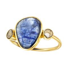 4.37 Carat Blue Sapphire Diamond Rose Cut 18 KT Yellow Gold Tresor Artisan Ring