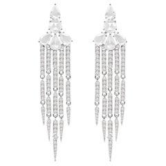 4.37 Carat Diamond 18 Karat Gold Chandelier Earrings