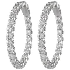 4.37 Carat Diamond Hoop Earrings White Gold